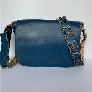 Patricia Nash Blue Crossbody Bag Handbag Silver